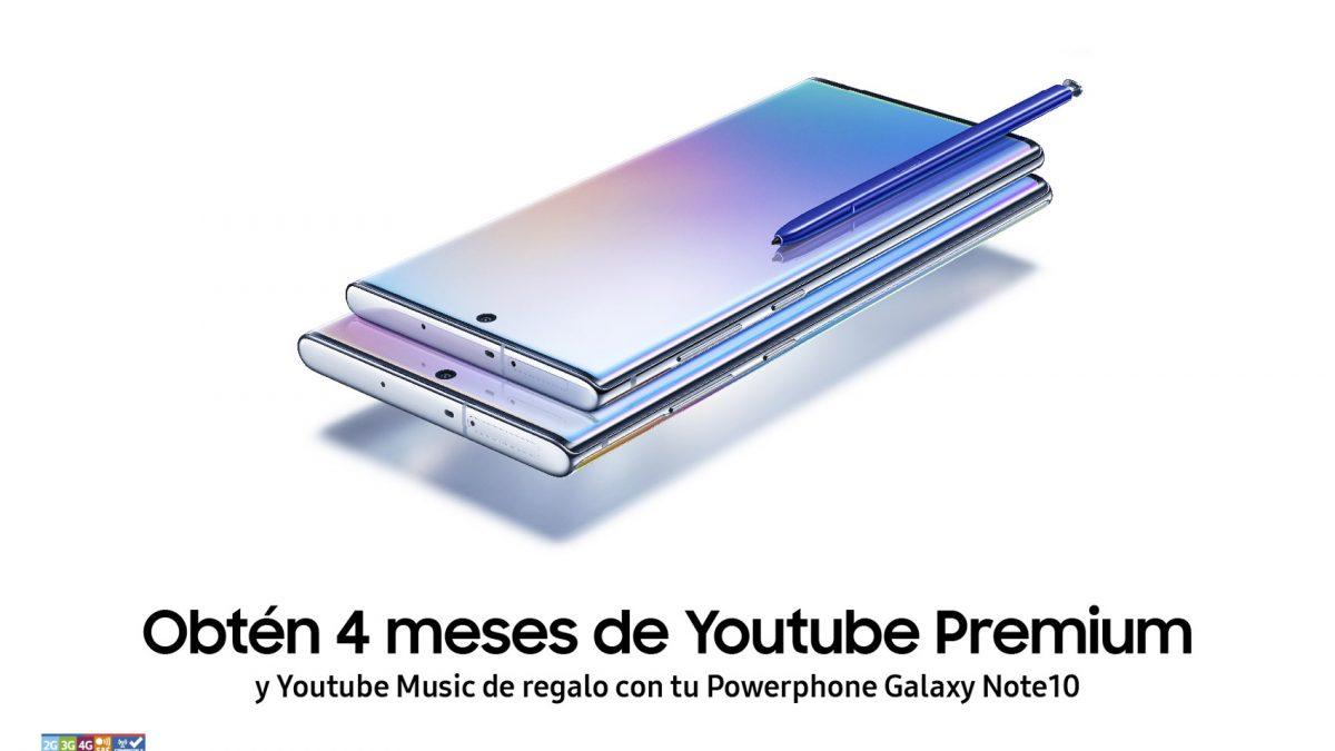 ¡La alianza no terminó! La compra de Note10 o Note10+ incluye 4 meses de YouTube Premium  gratis